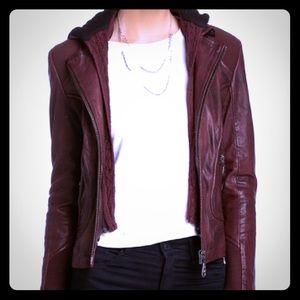 Brandy Wine color leather motor jacket